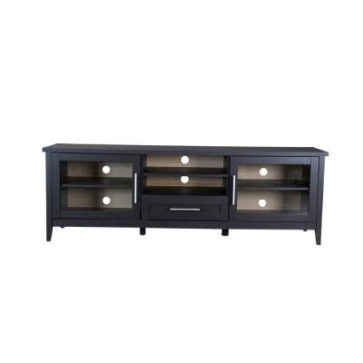 Baxton 71 in. Dark Brown Wood TV Stand with 1 Drawer Fits TVs Up to 35 in. with Storage Doors