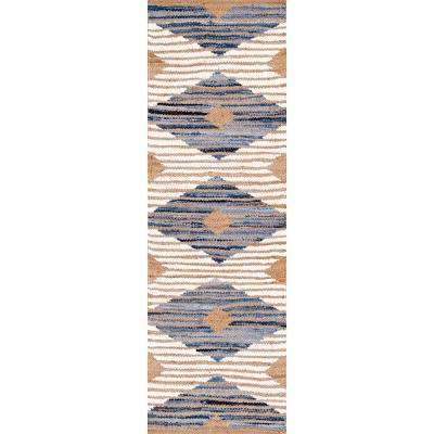 Marla Denim and Jute Diamonds Off White 2 ft. 6 in. x 10 ft. Runner Rug
