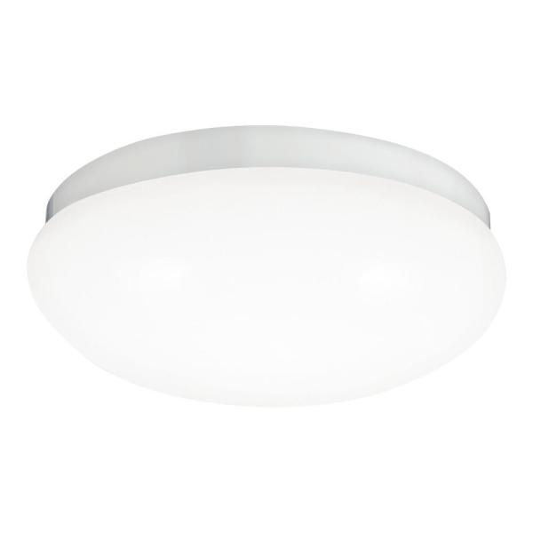 Webster 8 in. 3000K 14-Watt White Integrated LED Flush Mount with White Acrylic Shade