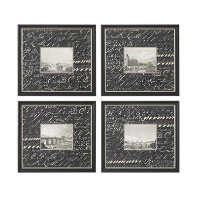 "20 in. x 22 in. ""Bridges"" Hand Painted Framed Wall Art (Set of 4)"