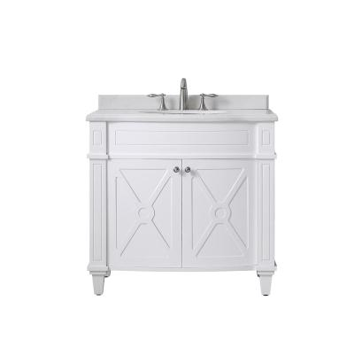Bergeron 36 in. W x 22 in. D Bath Vanity in White with Cultured Stone Vanity Top in White with White Basin