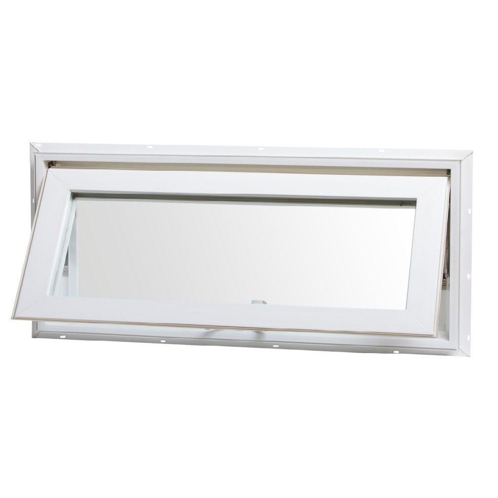 Tafco windows 32 in x 14 in top hinge awning vinyl for Awning replacement windows