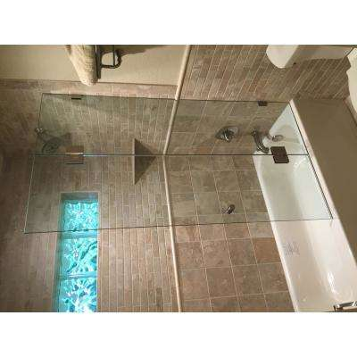 58 in. x 51 in. Frameless Glass Hinged Tub Door in Chrome with Handle
