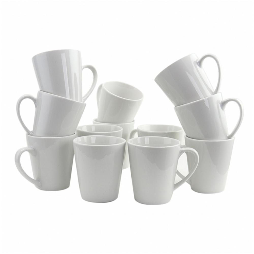 Noble Court 12 oz. White Coffee Mug (Set of 12)