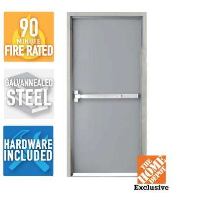 36 in. x 84 in. Fire-Rated Gray Right-Hand Flush Steel  sc 1 st  The Home Depot & Commercial Doors - Exterior Doors - The Home Depot