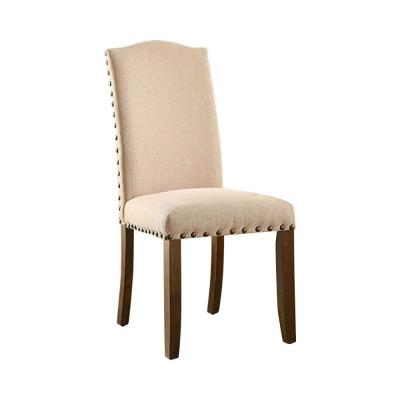 Benjara Brentford Transitional Rustic Walnut Wood and Fabric Upholstered Side Chair (Set of 2), Ivory