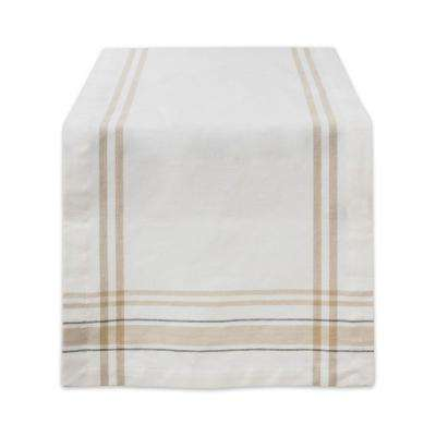 White Chambray French Stripe Cotton Table Runner