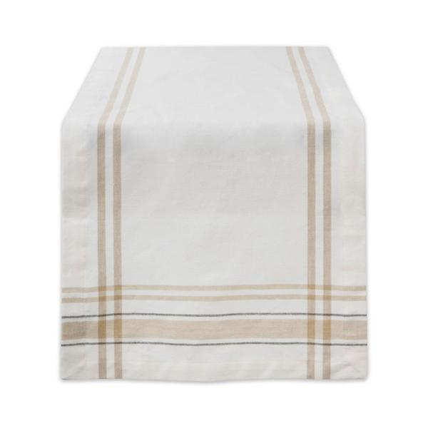 225 & White Chambray French Stripe Cotton Table Runner