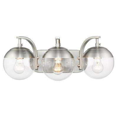 Dixon 12 in. 3-Light Pewter with Clear Glass and Pewter Cap Bath Vanity Light
