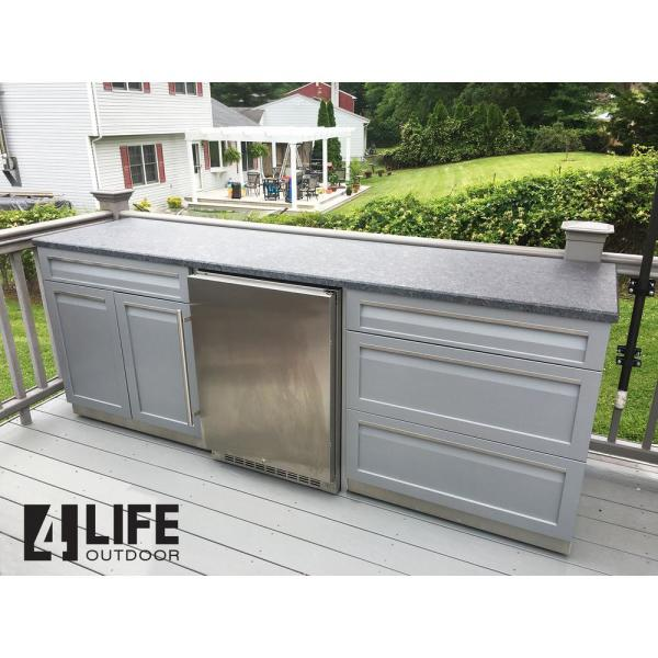 4 Life Outdoor Stainless Steel Drawer Plus 32x35x22 5 In Outdoor Kitchen Cabinet Base With 2 Powder Coated Doors And Drawers In Gray G40002 The Home Depot