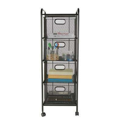 4 Drawer Office Cart, File Storage Cart, Utility Cart, Office Storage, Heavy Duty Multi-Purpose Cart in Black