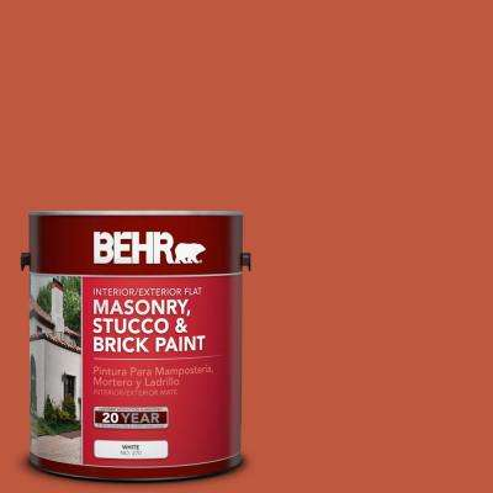 1 gal. #M180-7 Deep Fire Flat Interior/Exterior Masonry, Stucco and Brick Paint