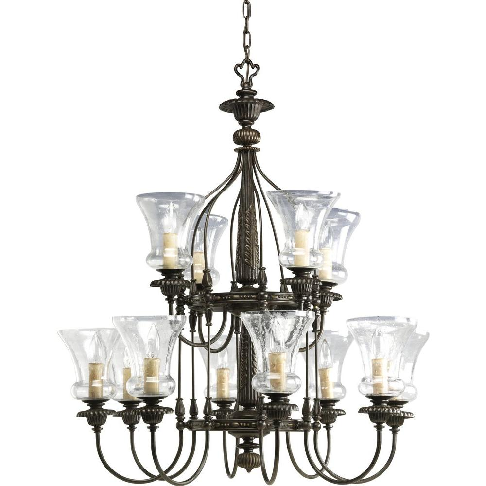 Fiorentino Collection 12-Light Forged Bronze Chandelier with Shade with Clear