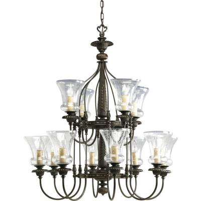 Fiorentino Collection 12-Light Forged Bronze Chandelier with Shade with Clear Seeded Glass Shade