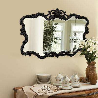 27 in. x 38 in. Vanity Glossy Black Framed Mirror