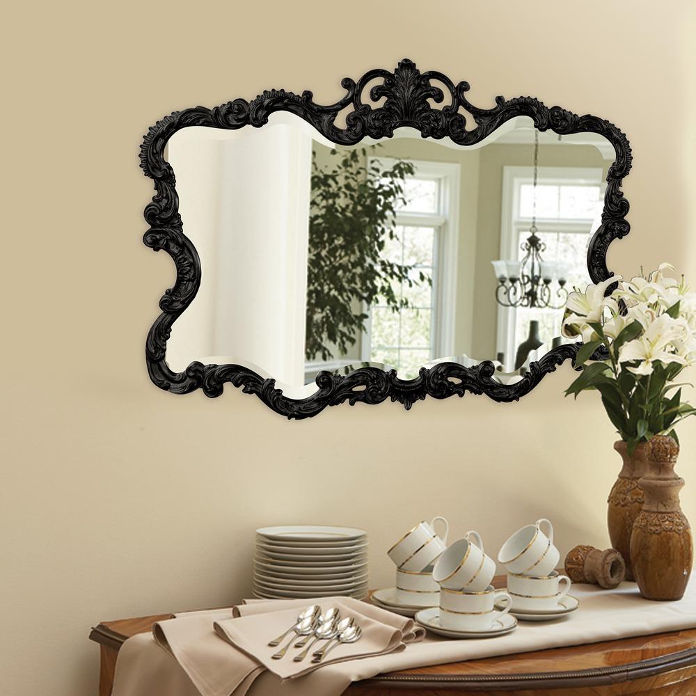 27 in. x 38 in. Vanity Glossy Black Framed Mirror