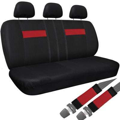 Polyester Bench Seat Cover 26 in. L x 23 in. W x 48 in. H Bench Seat Cover Red and Black