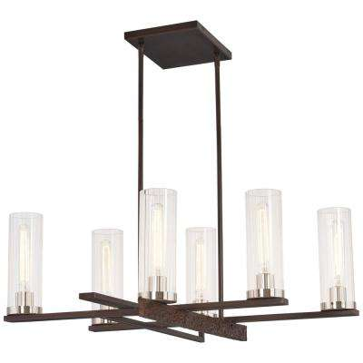 Maddox Roe 6-Light Iron Ore with Gold Dust Highlights Chandelier with Clear Stripe Glass Shade