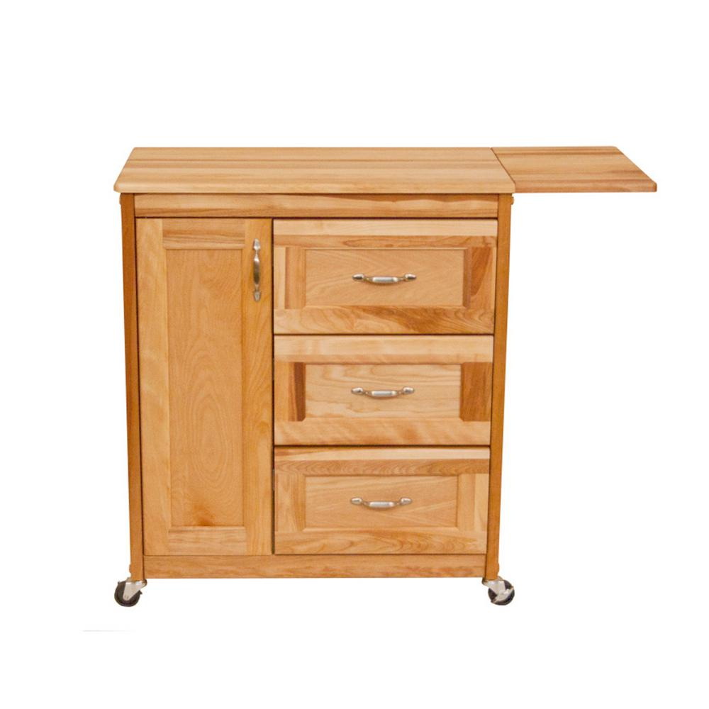 Catskill Craftsmen Natural Kitchen Cart with Butcher Block Top-1522 - The Home Depot