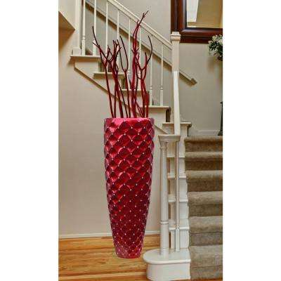 15.5 in. W x 15.5 in. D x 44 in. H Magnesium Oxide Modern Red Tall Floor Decorative Vase