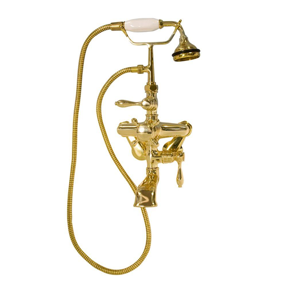 Barclay Products 3-Handle Thermostatic Claw Foot Tub Faucet with Plastic Handle Hand Shower in Polished Brass