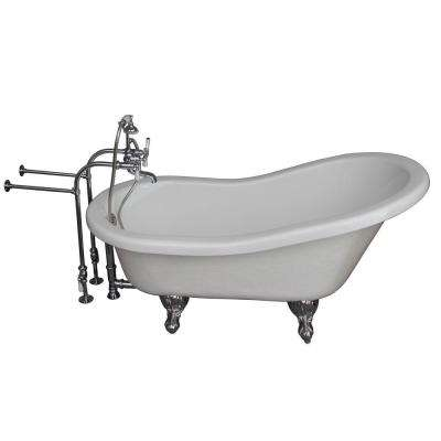 5.6 ft. Acrylic Ball and Claw Feet Slipper Tub in White with Polished Chrome