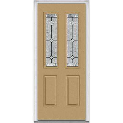 30 in. x 80 in. Carrollton Right-Hand Inswing 2-Lite Decorative 2-Panel Painted Fiberglass Smooth Prehung Front Door