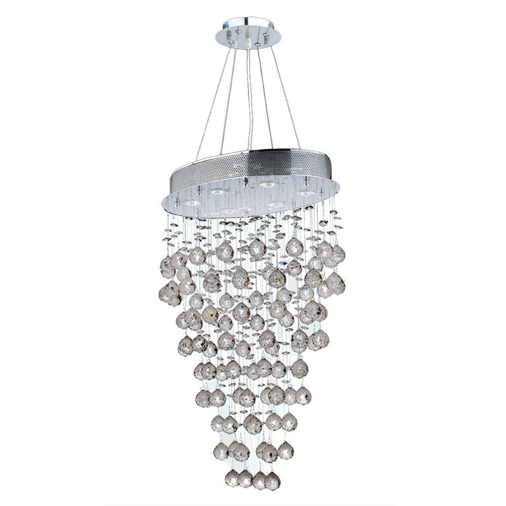 Worldwide Lighting Icicle 6-Light Polished Chrome and Clear Crystal Chandelier