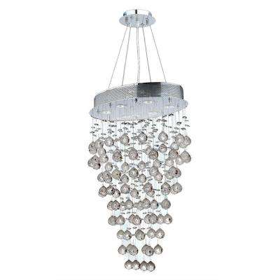 Icicle 6-Light Polished Chrome and Clear Crystal Chandelier