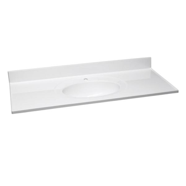 49 in. x 22 in. Single Faucet Hole Cultured Marble Vanity Top in Solid White with Solid White Basin