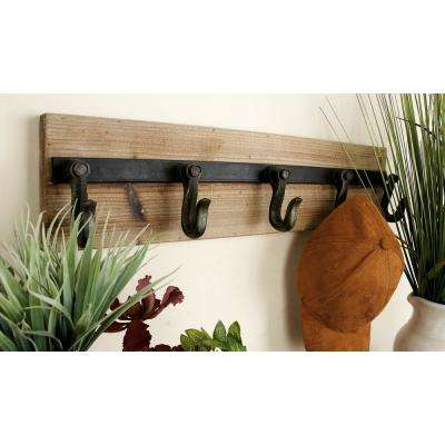 24 in. x 6 in. Industrial Black Iron and Reclaimed Wood Wall Hook Rack w/ 5 Hooks
