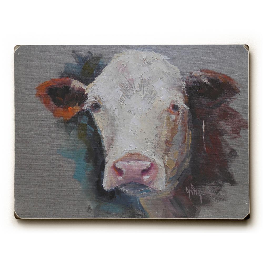 "9 in. x 12 in. ""Bovine"" by Carol Schiff Solid Wood Wall Art"