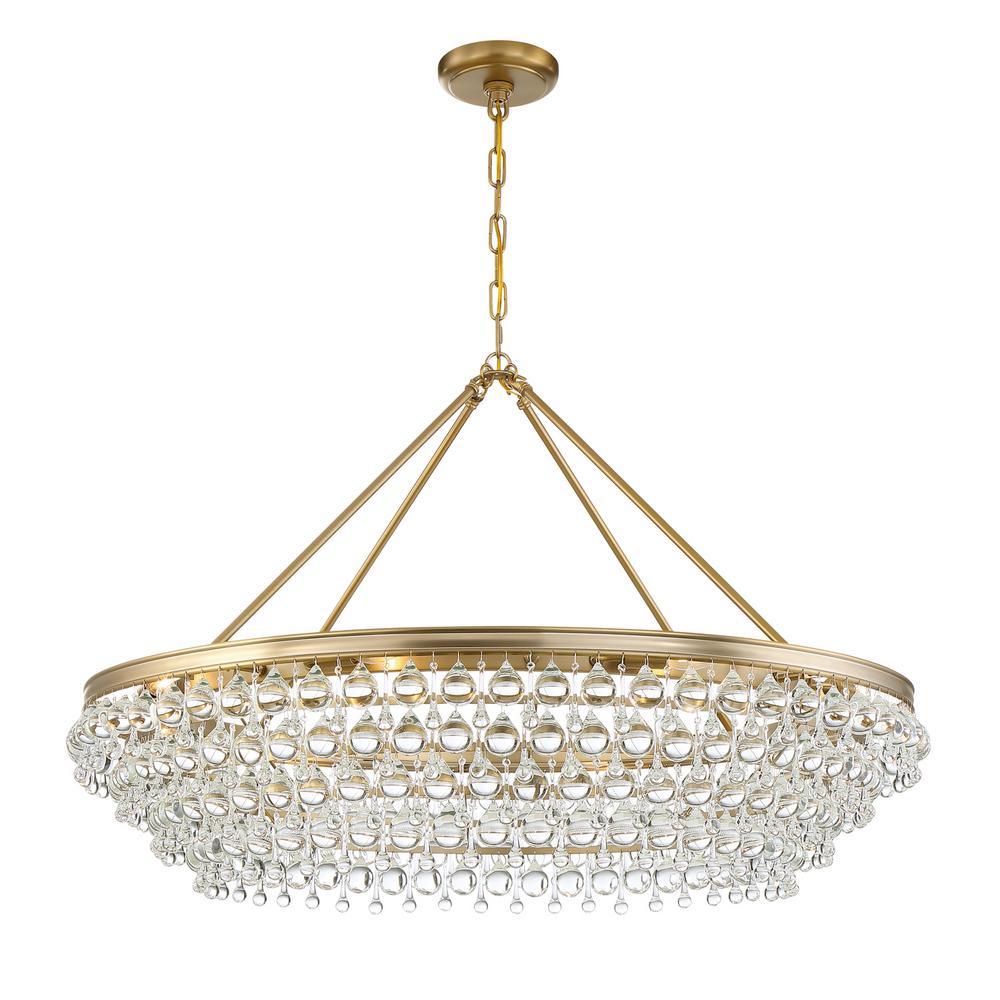 Crystorama Calypso 8 Light Vibrant Gold Standard Chandelier 278 Vg The Home Depot