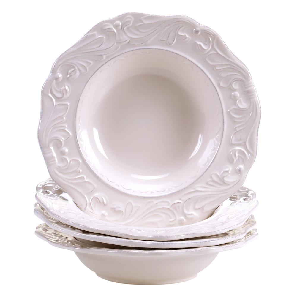 Firenze Ivory 9.75 in. Soup/Pasta Bowl (Set of 4)