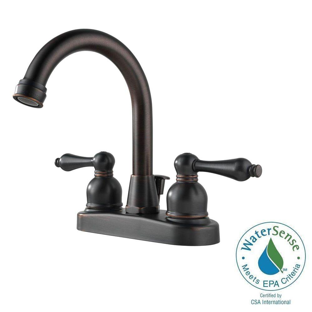 Peerless Hi-Arc, 4 in. 2-Handle Bathroom Faucet in Oil Rubbed ...