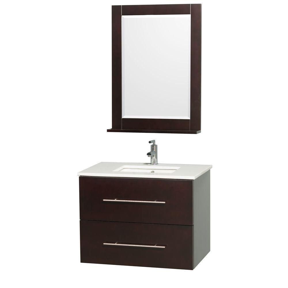 Wyndham Collection Centra 30 in. Vanity in Espresso with Man-Made Stone Vanity Top in White and Square Porcelain Under-Mounted Sink