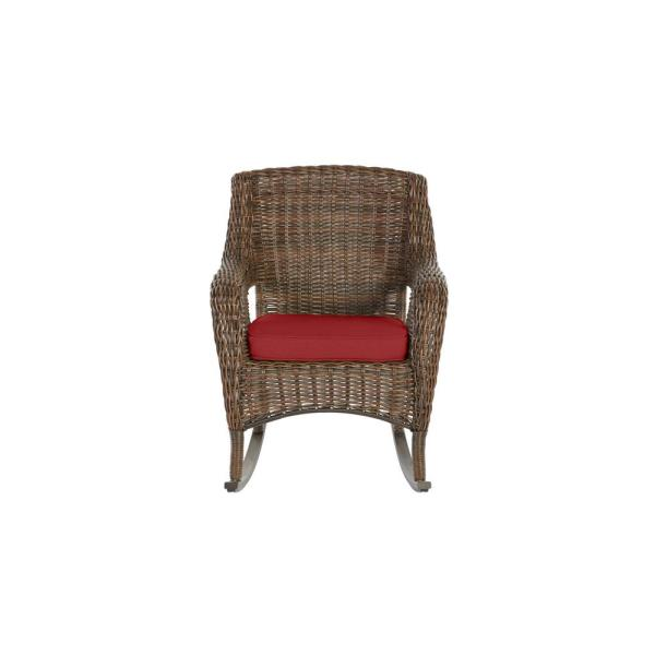 Cambridge Brown Wicker Outdoor Patio Rocking Chair with CushionGuard Chili Red Cushions