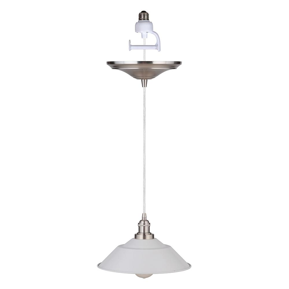 Worth Home Products Instant Pendant 1 Light Recessed Conversion Kit Brushed Nickel And White Shade