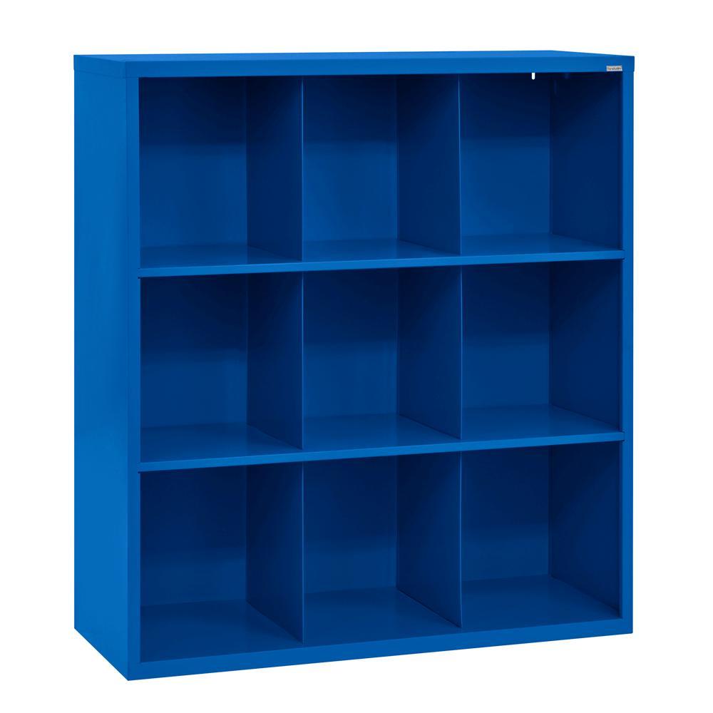 Sandusky 52 in. H x 46 in. W x 18 in. D Blue 9-Cube Cubby Organizer