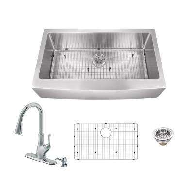 Apron Front Stainless Steel 30 in. Single Bowl Kitchen Sink with Gooseneck Kitchen Faucet