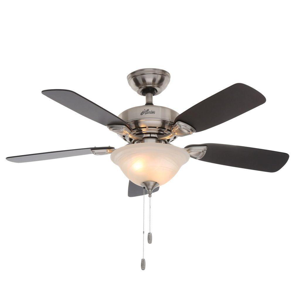 44 Ceiling Fan : Hunter caraway in indoor brushed nickel ceiling fan