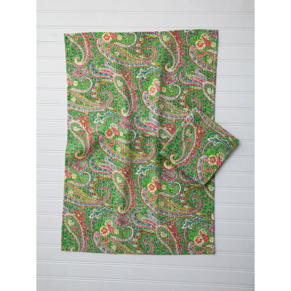 Green Jamavar Paisley Dish Towel (Set of 2)