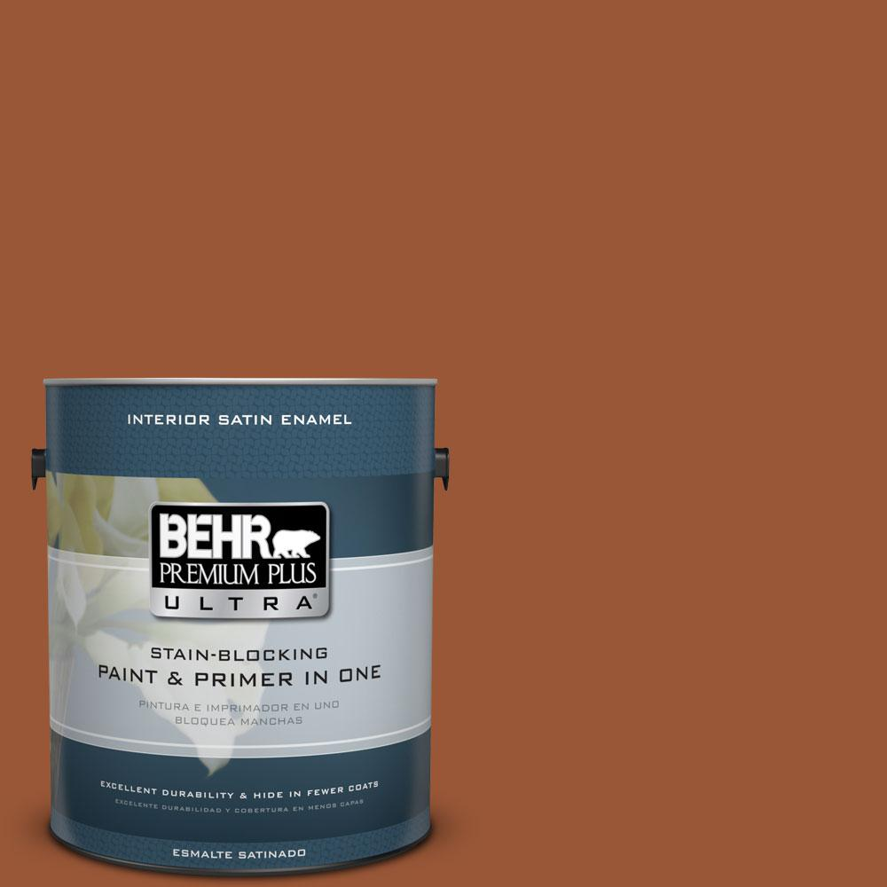 1 gal. #230D-7 Cinnamon Brandy Satin Enamel Interior Paint and Primer