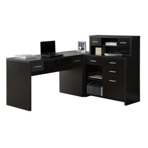 47 in. L-Shaped Cappuccino 8 Drawer Computer Desk