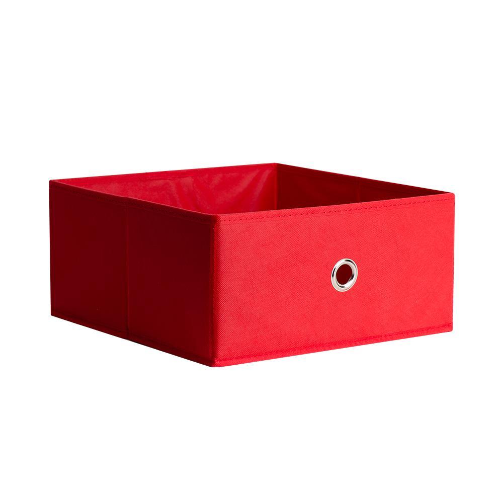 Half Fabric Drawer 12.5 in. x 5.9 in. Red Fabric Storage Bin