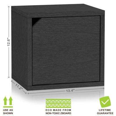 Connect System 13.4 in. x 12.6 in. zBoard Stackable Storage 1-Cube Organizer Unit with Door in Black Grain