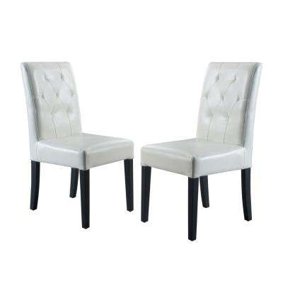 Gentry Ivory Bonded Leather Tufted Dining Chair (Set Of 2)