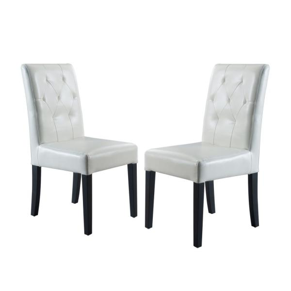 48cd08552970 Gentry Ivory Bonded Leather Tufted Dining Chair (Set of 2). by Noble House