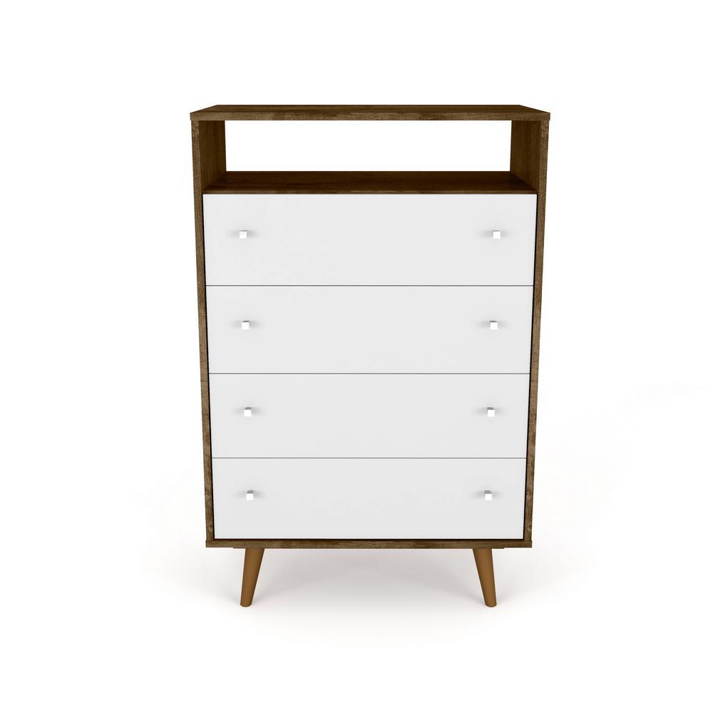 Manhattan Comfort Liberty 4-Drawer Rustic Brown and White Dresser Chest 209BMC96