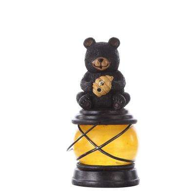 Bear Sitting with Hive and Bee Solar Lantern Garden Statue